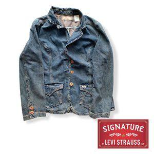Levis Signature Series L Women Denim Blazer Jacket